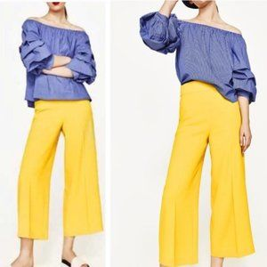 New Zara High Waisted Trousers Yellow